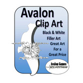 Avalon Clip Art, Black and White Filler Art