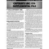 Captain's Log #39 Supplement